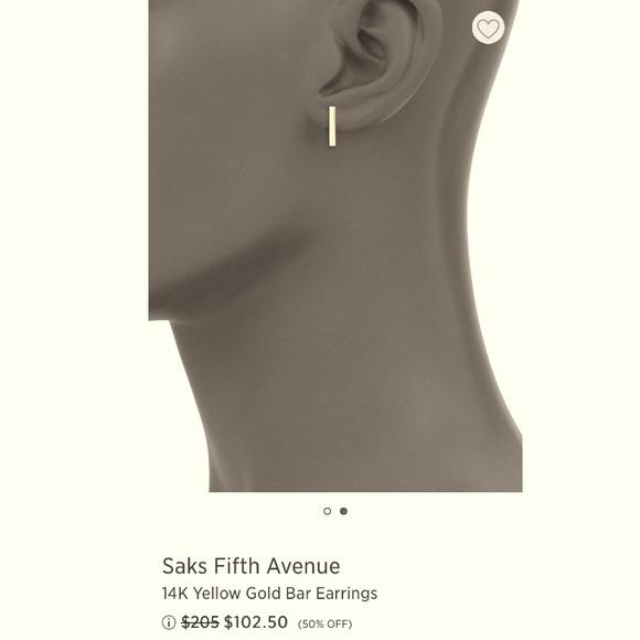 SAKS 5th Ave 14k gold bar stud earrings NWOT